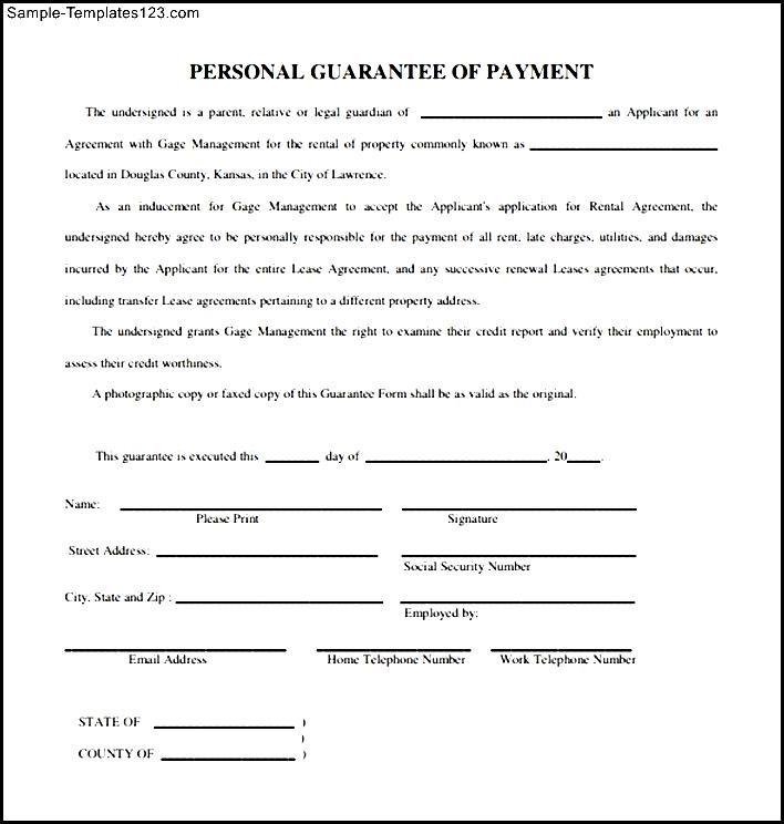 Simple Personal Guarantee Form Sample Templates Sample Templates