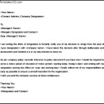 Simple Resignation Notice letter Template Word Doc