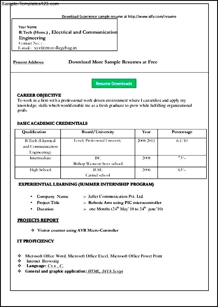 simple resume template word sample templates