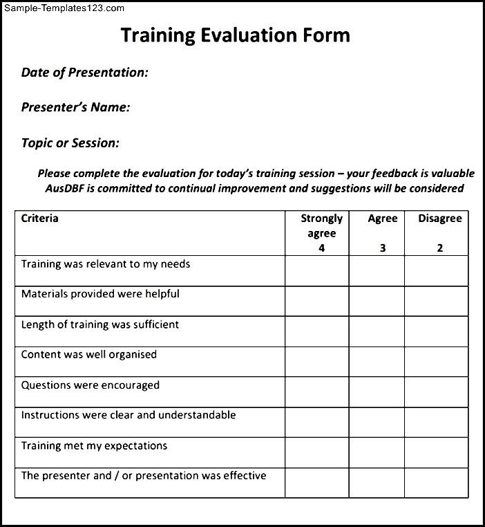 training evaluation forms - Kubre.euforic.co