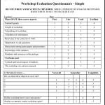 Simple Work Shop Evaluation Form