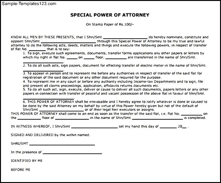 Special Power Of Attorney Template Free Costumepartyrun