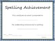 Spelling Achievement Certificate Template