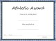 Sports – Athletic Award Certificate Template