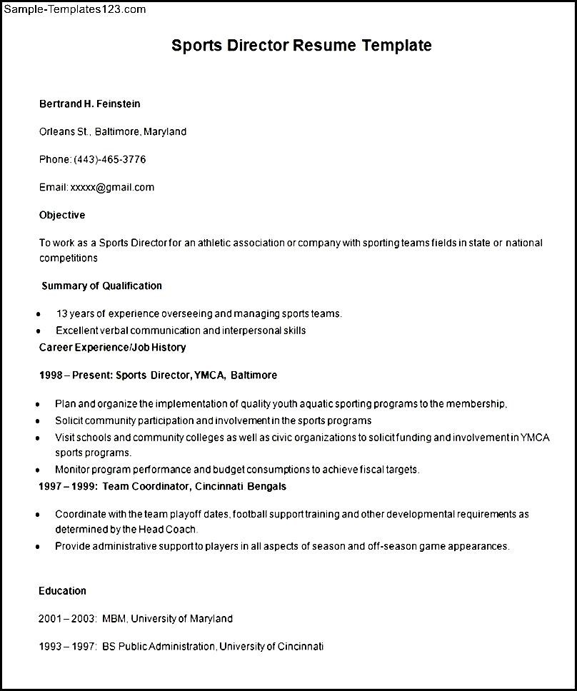 sports director resume template sample templates