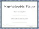 Sports – Most Valuable Player Certificate Template