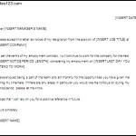 Standard Resignation Letter Template Sample Download