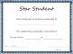 Star Student Award Certificate Template