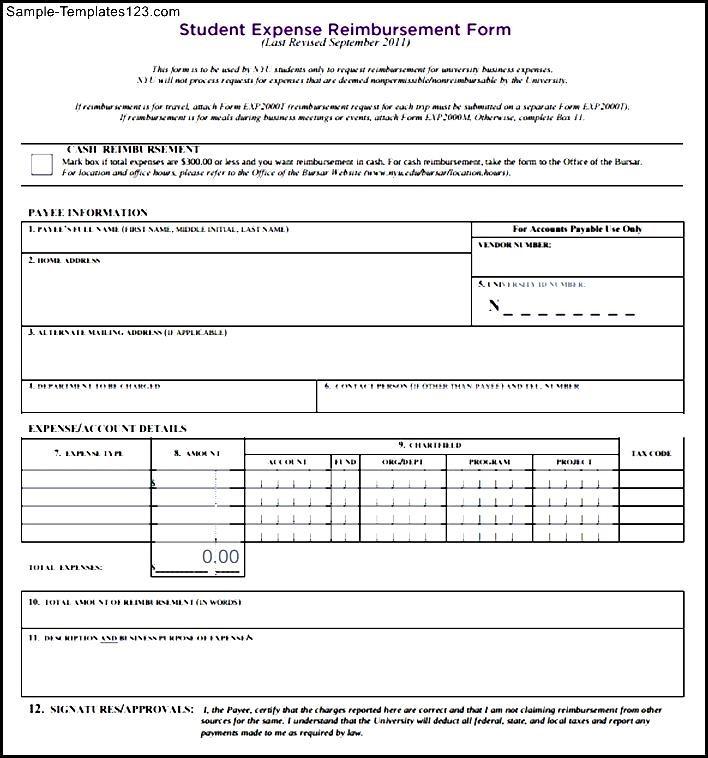 student expense reimbursement form sample templates