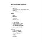 Studio Equipment List Template