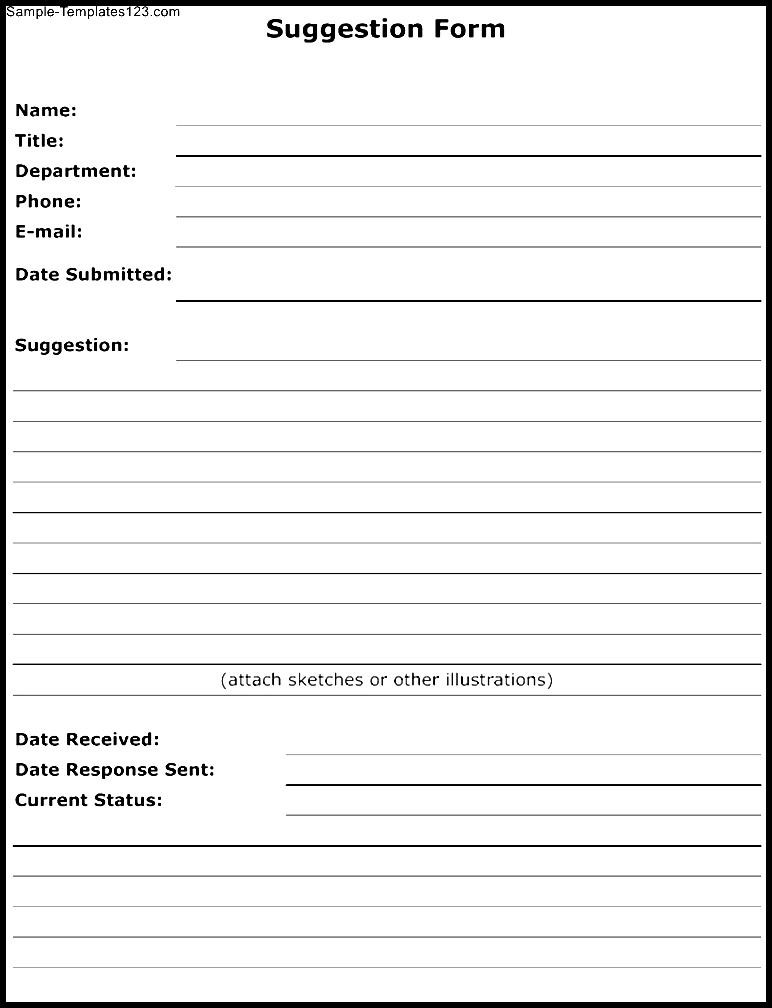 Suggestion Form Template Sample Templates Sample Templates