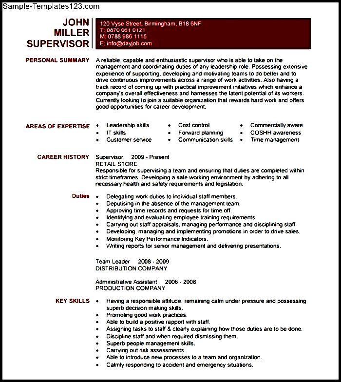supervisor resume template  sample templates
