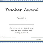 Teacher Award Certificate Template