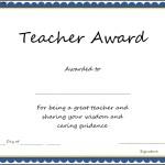 Teacher Award Certificate Template