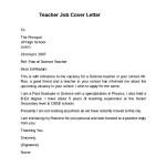 Teacher Job Cover Letter Example
