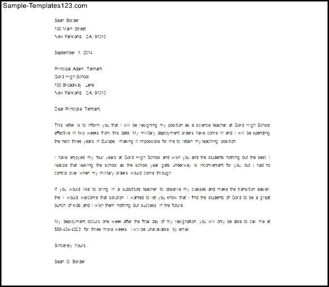 sample teacher resignation letter to a principal studycom