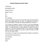 Teacher Resume Cover Letter Example