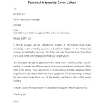 Technical Internship Cover Letter