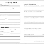 Telephone Reference Check Form Template