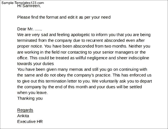 Termination Letter Format For Absconding Employee Images - letter ...