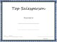 Top Salesperson Certificate Template