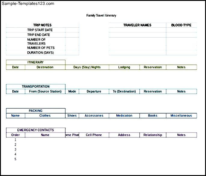 Travel Itinerary Excel Format Template - Sample Templates ...