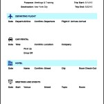 Travel Itinerary Template in Excel Format