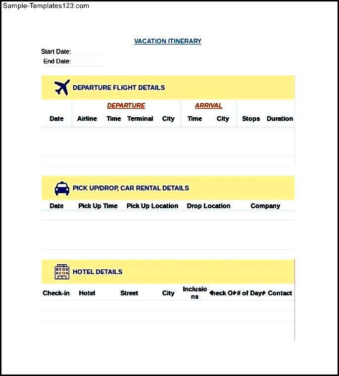 vacation itinerary template in excel sample templates