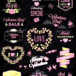 Valentines Day Labels Elements Set