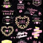 Valentines Day Labels Elements Set