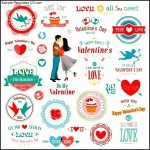 Valentines Day label set