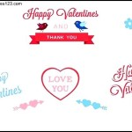 Valentines day labels and elements