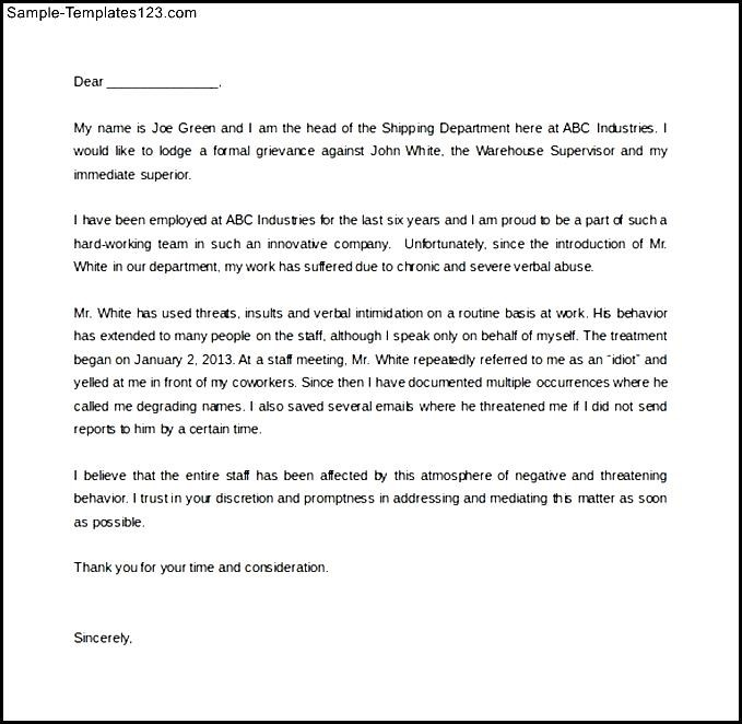 Verbal abuse complaint letter template word doc sample sample verbal abuse complaint letter template word doc sample spiritdancerdesigns Image collections