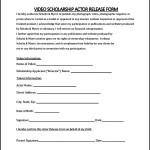 Video Scholarship Actor Release Form