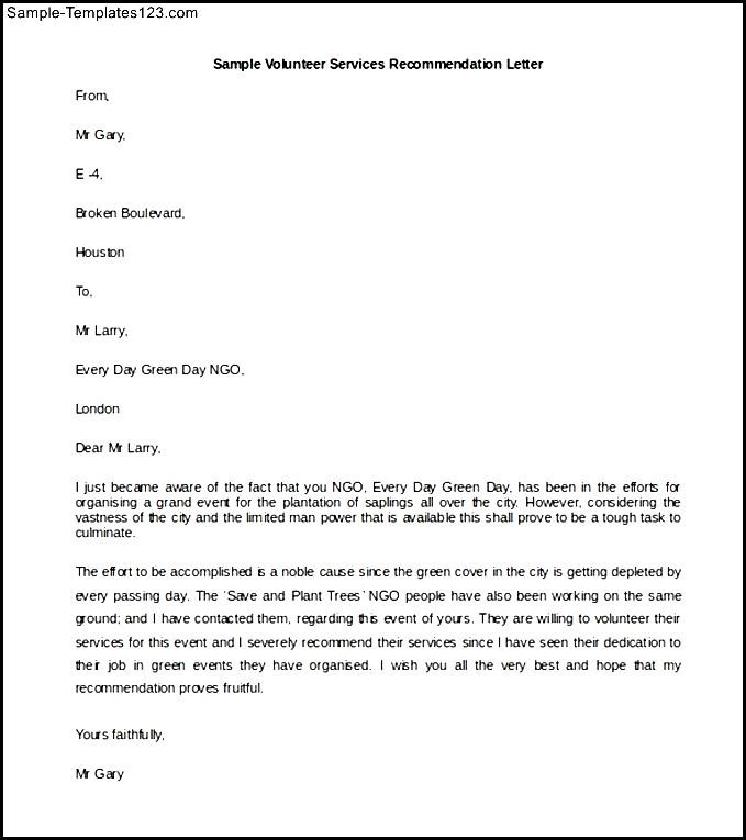 Volunteer Services Recommendation Letter Template Word Doc