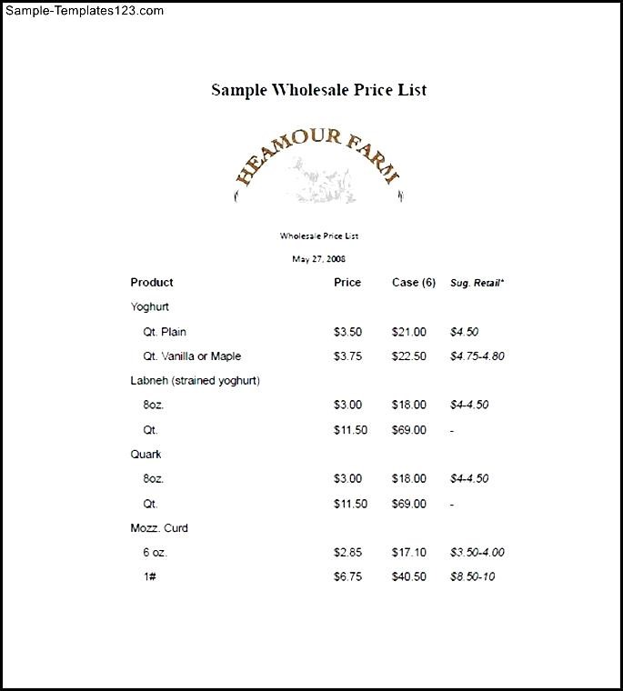 Price List Free