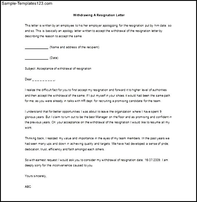 Resignation letter withdrawal format choice image letter format 8 resign letter samples sample templates spiritdancerdesigns Image collections