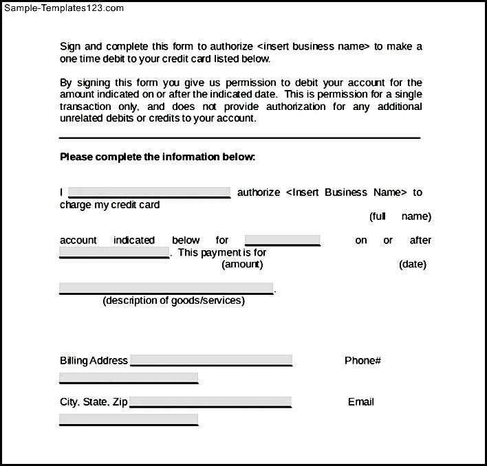 Word Credit Card Authorization Form Sample Templates