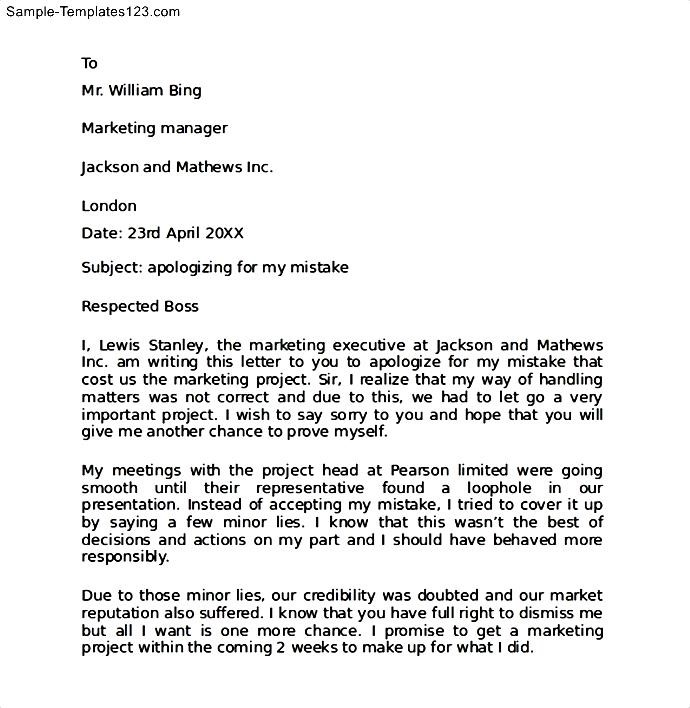 Work Apology Letter to Boss - Sample Templates - Sample Templates