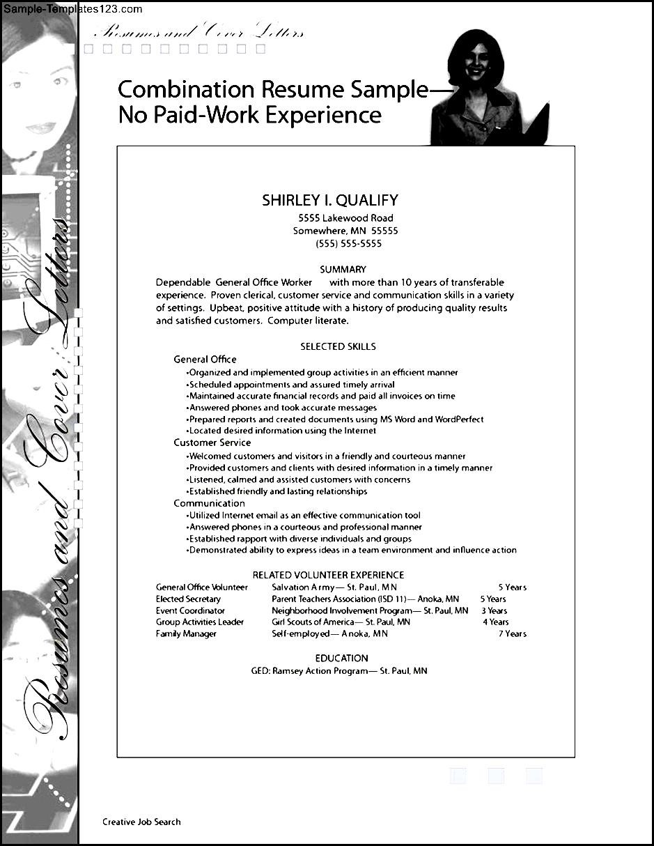 write a job resume with no work experience  sample