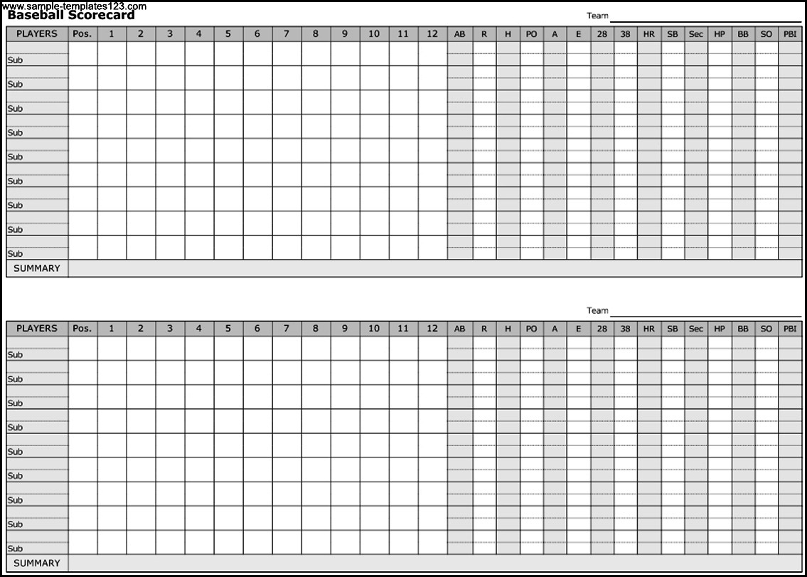 Baseball Scorecard Template Sample Templates Sample Templates