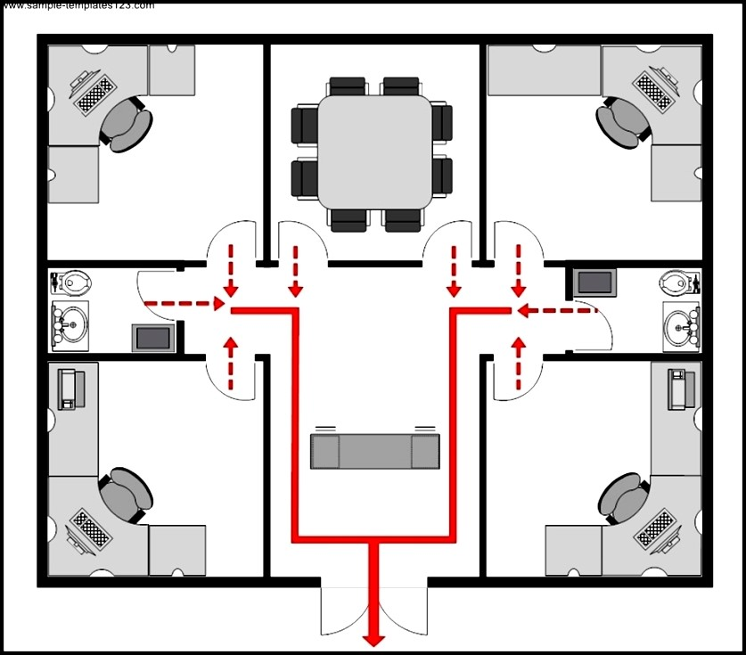Example office evacuation plan template sample templates for Office design templates