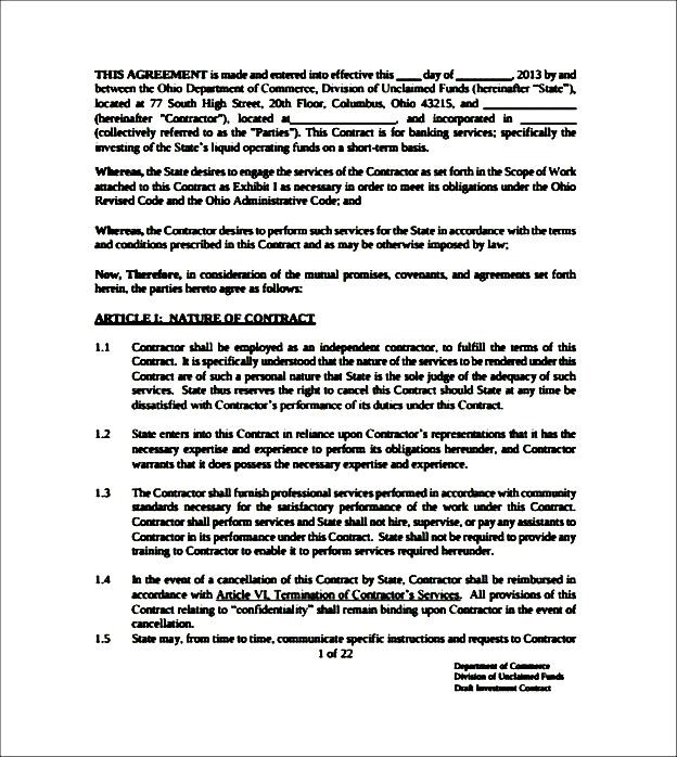 Sample Investment Contract Template