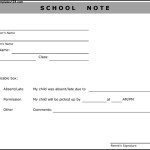 School Note From Parent Template