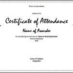 100% Attendance Certificates Printable