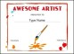 Art School Certificate of Appreciation Template