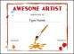 Artist Award School Certificate Template