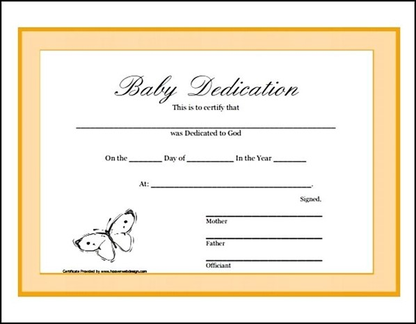 photo about Printable Baby Dedication Certificate titled Child Determination Certification Printable - Pattern Templates