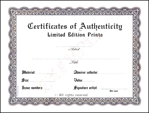 photo relating to Printable Certificate of Authenticity titled Blank Certification of Authenticity - Pattern Templates