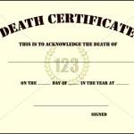 Blank Death Certificate Template Sample
